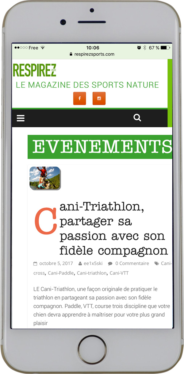 version responsive du site respirez-sports. Réalisation Thierry Gaster